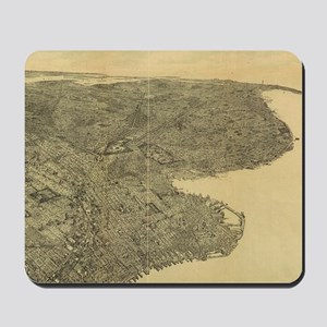 Vintage Pictorial Map of Brooklyn NY (18 Mousepad