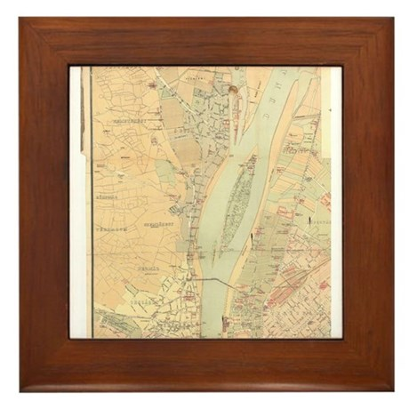 Vintage Map Of Budapest Hungary Framed Tile By Listingstore - Vintage budapest map
