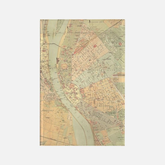 Vintage Map of Budapest Hungary ( Rectangle Magnet