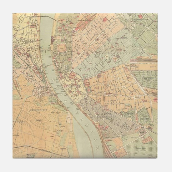 Vintage Map of Budapest Hungary (1884 Tile Coaster