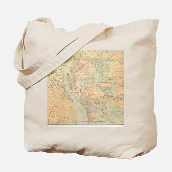 Vintage Map of Budapest Hungary (1884) Tote Bag
