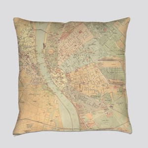 Vintage Map of Budapest Hungary (1 Everyday Pillow