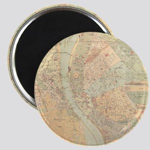 Vintage Map of Budapest Hungary (1884) Magnet