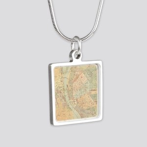Vintage Map of Budapest Hu Silver Square Necklace