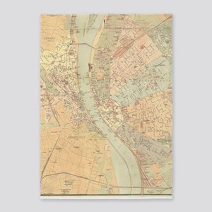 Vintage Map of Budapest Hungary (18 5'x7'Area Rug