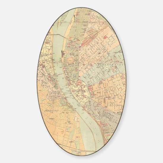 Vintage Map of Budapest Hungary (18 Sticker (Oval)