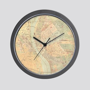 Vintage Map of Budapest Hungary (1884) Wall Clock