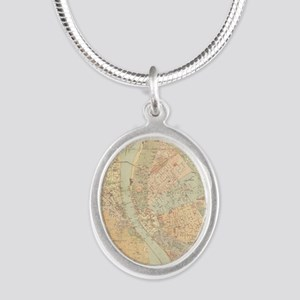 Vintage Map of Budapest Hunga Silver Oval Necklace