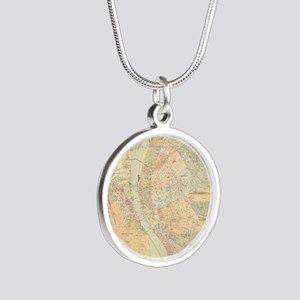 Vintage Map of Budapest Hung Silver Round Necklace