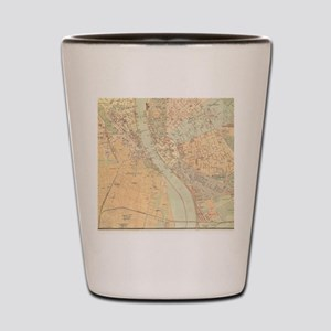Vintage Map of Budapest Hungary (1884) Shot Glass