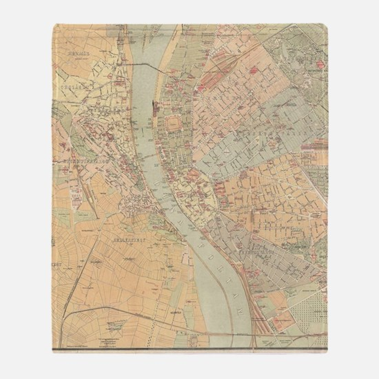 Vintage Map of Budapest Hungary (188 Throw Blanket