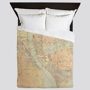 Vintage Map of Budapest Hungary (1884) Queen Duvet