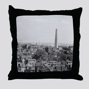 Vintage Photograph of Charlestown Mas Throw Pillow