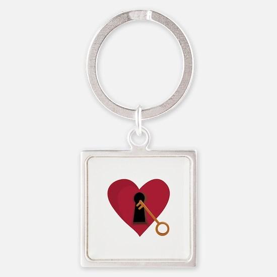 Heart Key Keychains