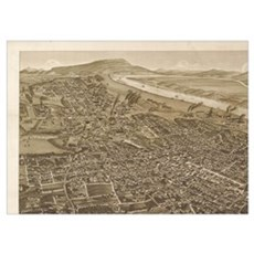 Vintage Pictorial Map of Chattanooga (1886)  Poster