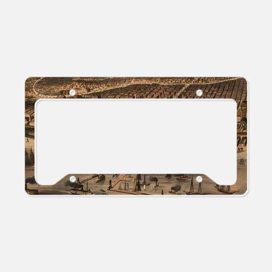 Vintage Pictorial Map of Chic License Plate Holder