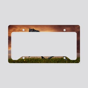 Beautiful Black Horse License Plate Holder