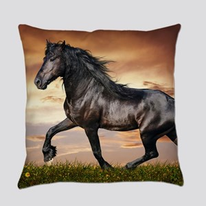 Beautiful Black Horse Everyday Pillow