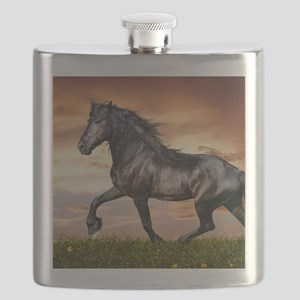 Beautiful Black Horse Flask