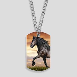 Beautiful Black Horse Dog Tags