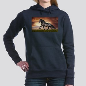 Beautiful Black Horse Women's Hooded Sweatshirt