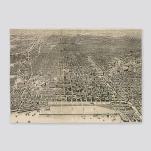 Vintage Pictorial Map of Chicago (1 5'x7'Area Rug