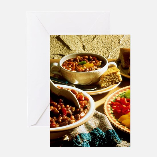 Chili with Cornbread Greeting Card