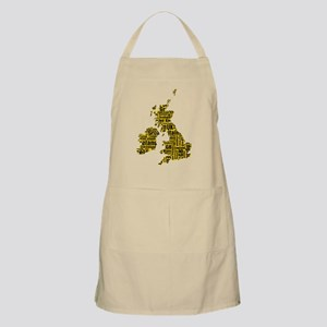 Typographic British Isles - Amber and Black Apron