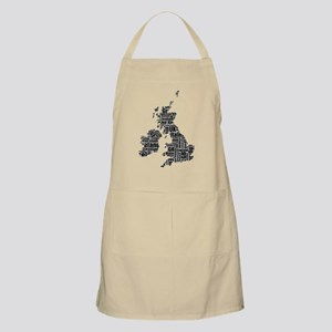 Typographic British Isles - Gray and Black Apron