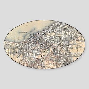 Vintage Map of Cleveland (1904) Sticker (Oval)
