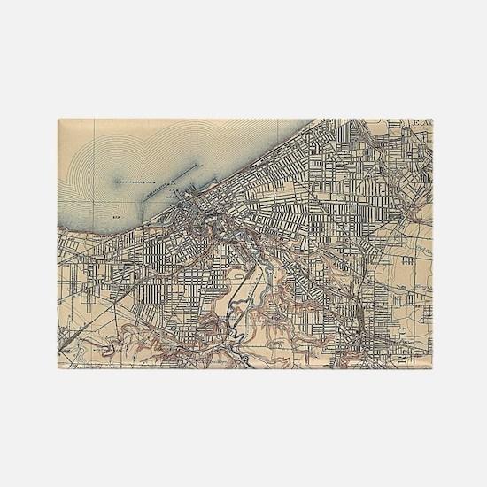Vintage Map of Cleveland (1904) Rectangle Magnet