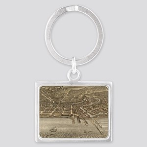 Vintage Pictorial Map of Clevel Landscape Keychain