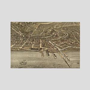 Vintage Pictorial Map of Clevelan Rectangle Magnet