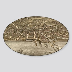Vintage Pictorial Map of Cleveland  Sticker (Oval)