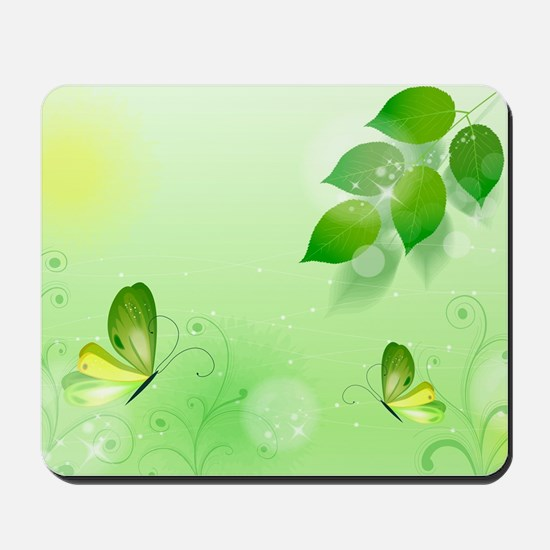 Spring Green Background With Butterfly Mousepad