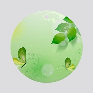 Spring Green Background With Butt Ornament (Round)
