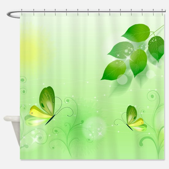 Spring Green Background With Butter Shower Curtain