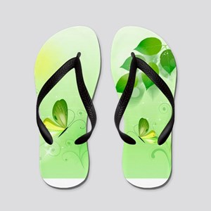 Spring Green Background With Butterfly Flip Flops