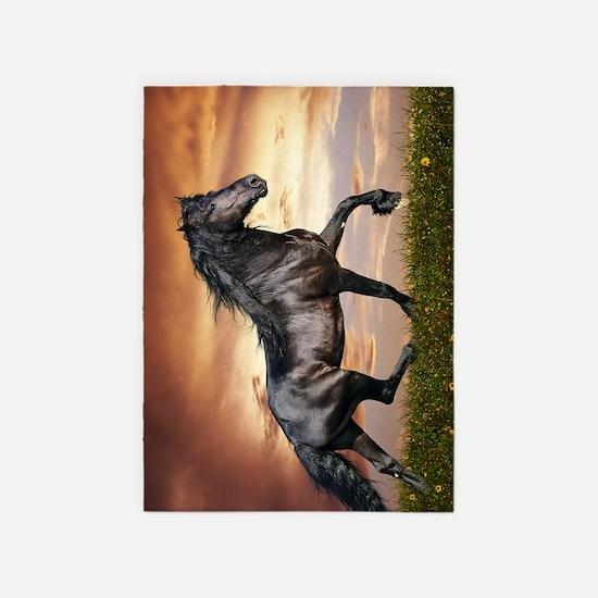 Beautiful Black Horse 5'x7'Area Rug
