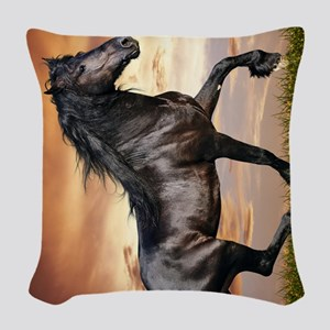 Beautiful Black Horse Woven Throw Pillow