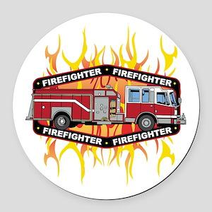 Fire Engine Truck Round Car Magnet