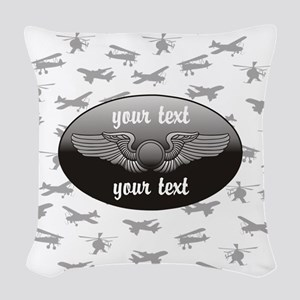 Personalized Aviation Woven Throw Pillow