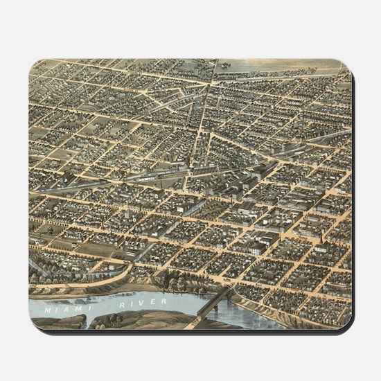 Vintage Pictorial Map of Dayton Ohio (18 Mousepad