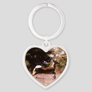 White-Tail Deer Running  Heart Keychain