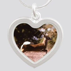 White-Tail Deer Running  Silver Heart Necklace
