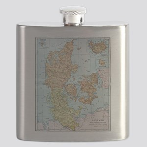 Vintage Map of Denmark (1905)  Flask
