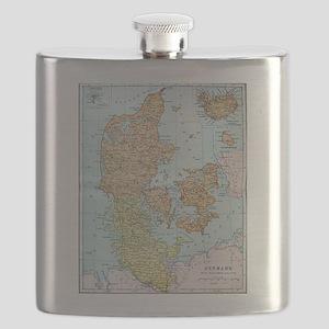Vintage Map of Denmark (1905)  Flask