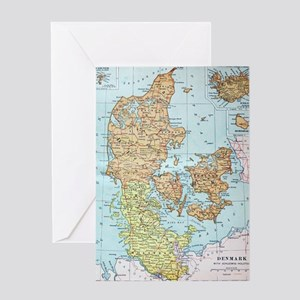 Vintage Map of Denmark (1905)  Greeting Card