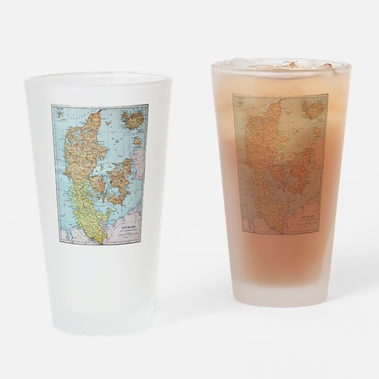 Vintage Map of Denmark (1905)  Drinking Glass