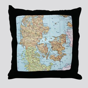 Vintage Map of Denmark (1905)  Throw Pillow